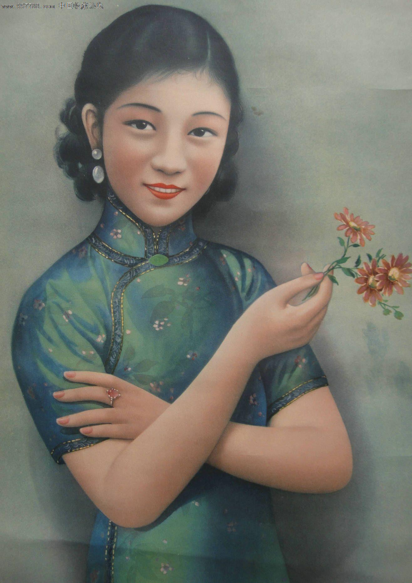 胡伯翔-哈德门香烟-民国美女-旗袍美女-烟广告画-在中国印刷图片