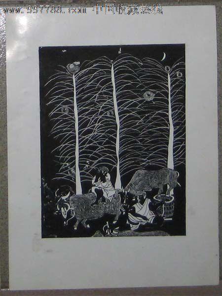 手绘黑白装饰画——树,牛,人