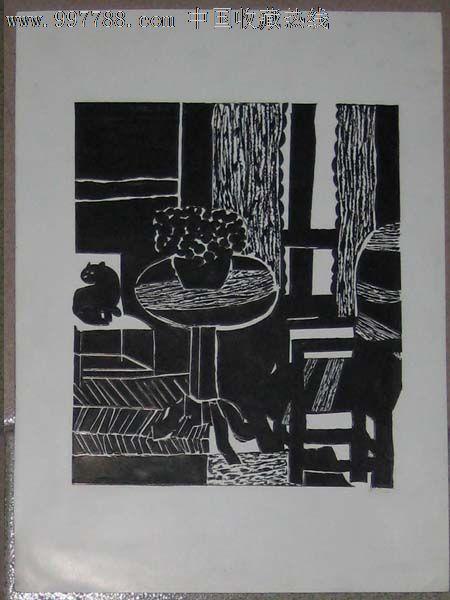 手绘黑白装饰画——猫