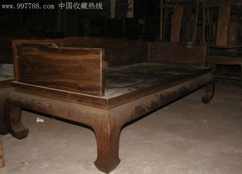 中式古典家具(皮灰)黑紫檀扩床木床/木榻第3张