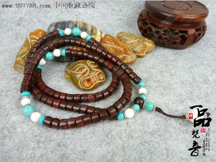 一品梵音经典藏式风格印度小叶紫檀佛珠手链108颗筒型8mm配松石_价格图片