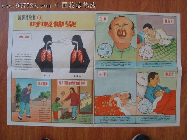 年代2开老卫生宣传画预防传染病 3 呼吸传染