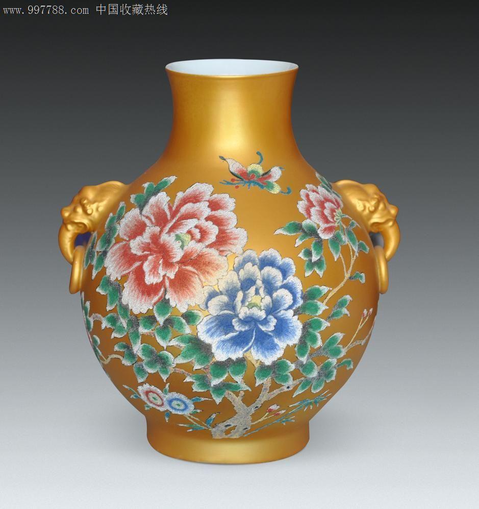 水晶绣彩花瓶:孔雀牡丹