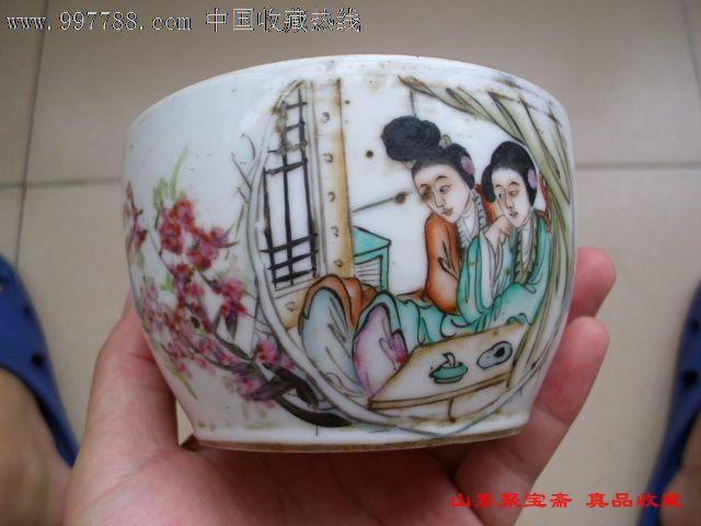 特价民国侍女扣碗民国刘隆兴造美女人物茶扣扣碗无盖旧瓷器民国手绘