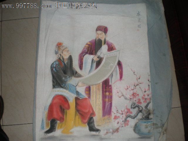 手绘画京剧人物唱戏用布帘