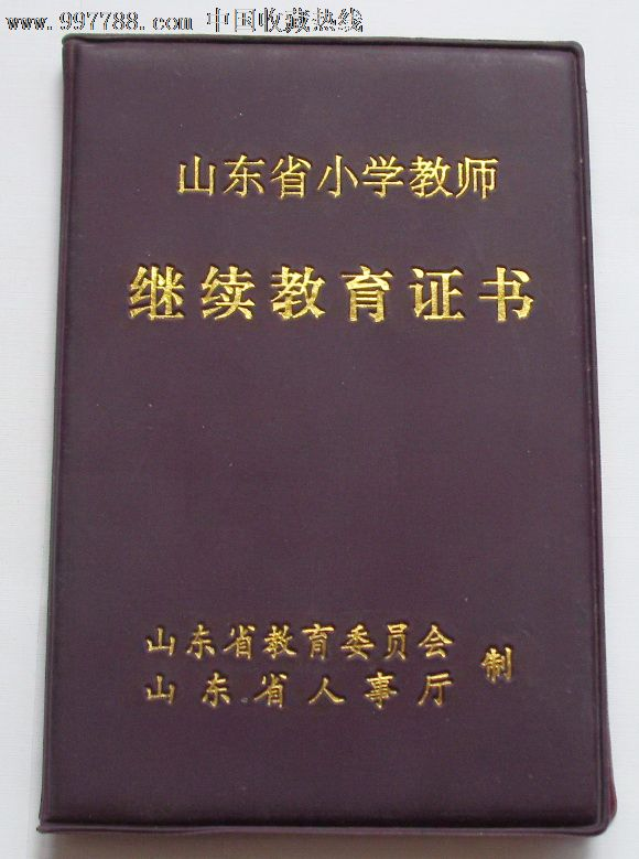 山东省小学教师继续教育证书,职称\/工昨证件,工