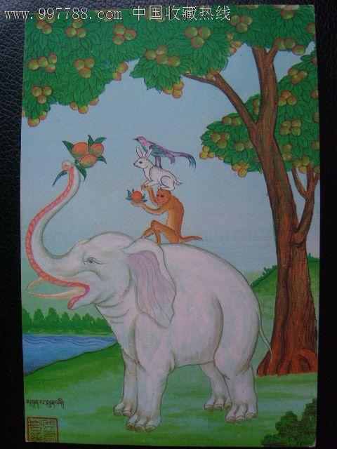 西藏动物明信片一张