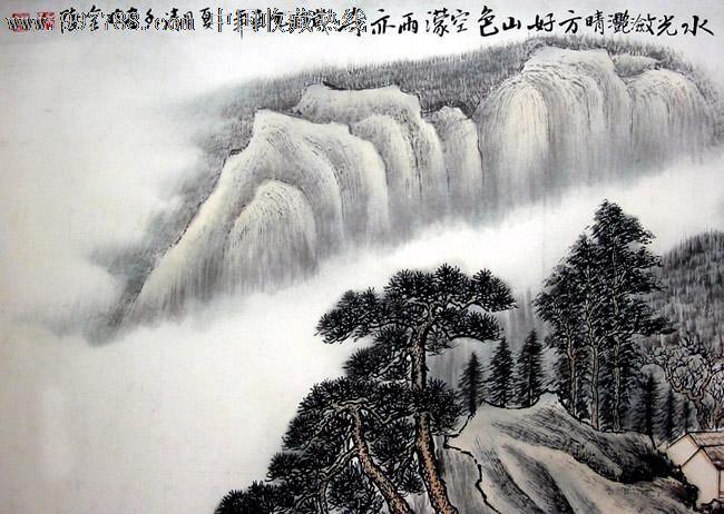 吴清香山水画,晴方好山色空蒙雨亦奇,三尺,客厅卧室字画,书屋茶楼装饰图片