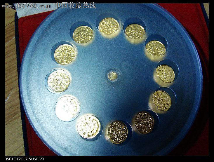 上海造币厂转盘式十二生肖镀金精制纪念章一盒
