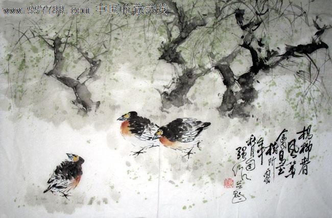 李自强花鸟画/杨柳春风第/四尺三开/写意国画送礼装饰