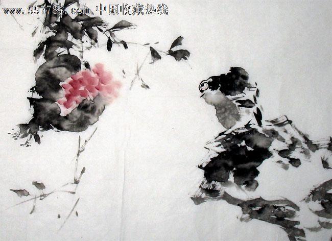 写意国画_李自强花鸟画/石上珍禽夸锦绣/四尺三开/写意国画送礼