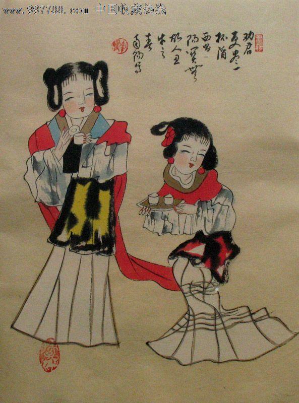 南阳人物画/女子图/小品/家居装饰/原稿手绘/小清新/50125