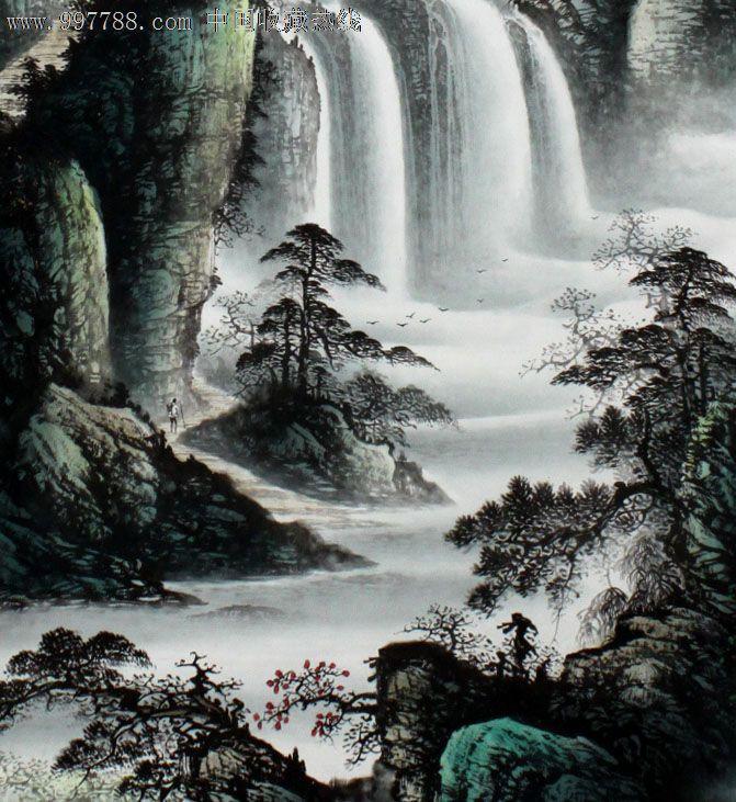 林???.'z(?_【立轴类】胜林山水画,飞瀑图,精美礼品装饰画,推荐收藏,z3020