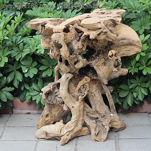 送礼佳品/天然根雕奇石/秤杆木木雕/实木花架花台博古