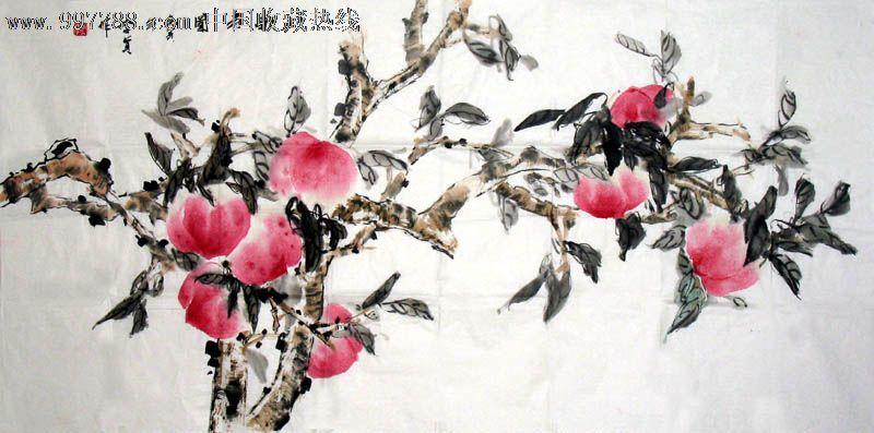 国画,花鸟,李贞,四尺,寿桃,mj370