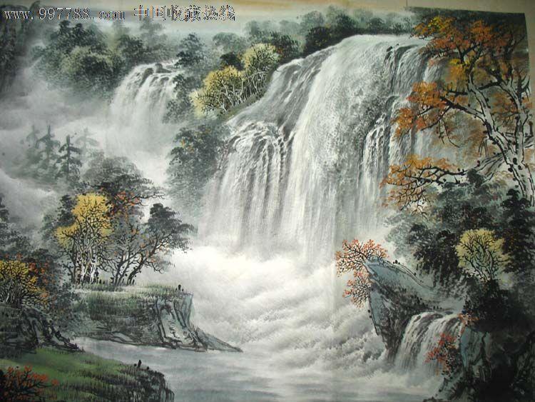 壁纸 风景 国画 旅游 瀑布 山水 桌面 750_563