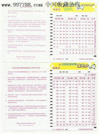 中国足球彩票投注单