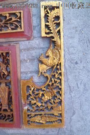 民末楠木纯手工透雕浮雕镏金花瓶花鸟雕板6件套_价格元_第5张_中国