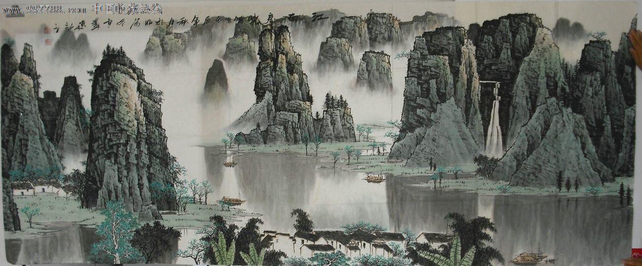 赵冬雪巨幅山水画江南春早98*240厘米图片