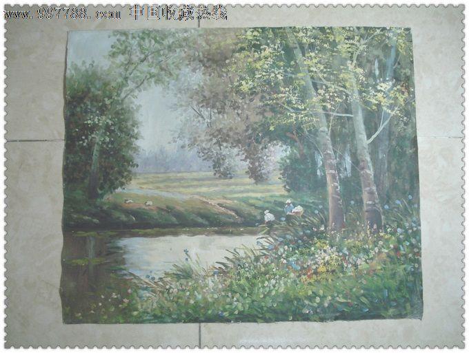 一幅手绘的田园风光老油画