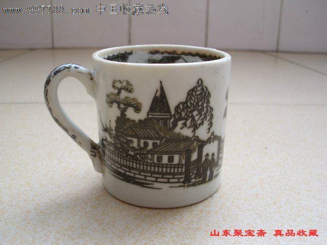 特价民国人物水杯民国山水人物风景瓷杯子老茶杯旧瓷器