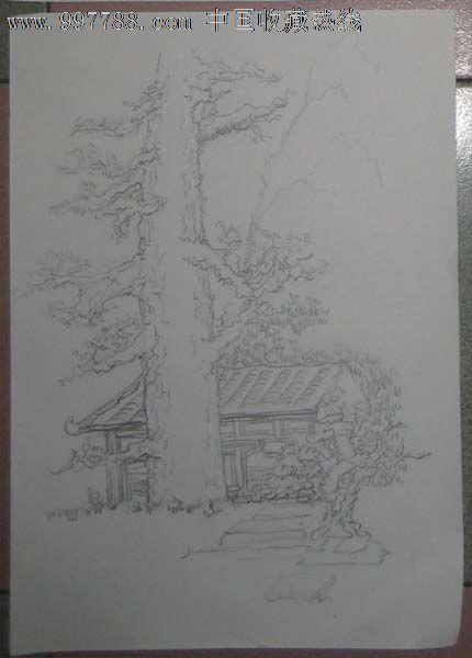 铅笔速写——树,房子,素描/速写【西画专营店】_第1张_7788素描收藏
