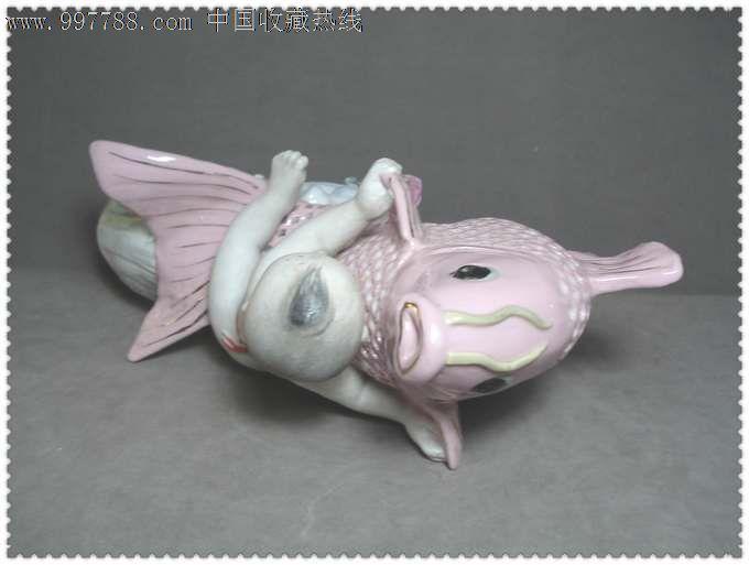 精美可爱的文革鲤鱼童子瓷塑像