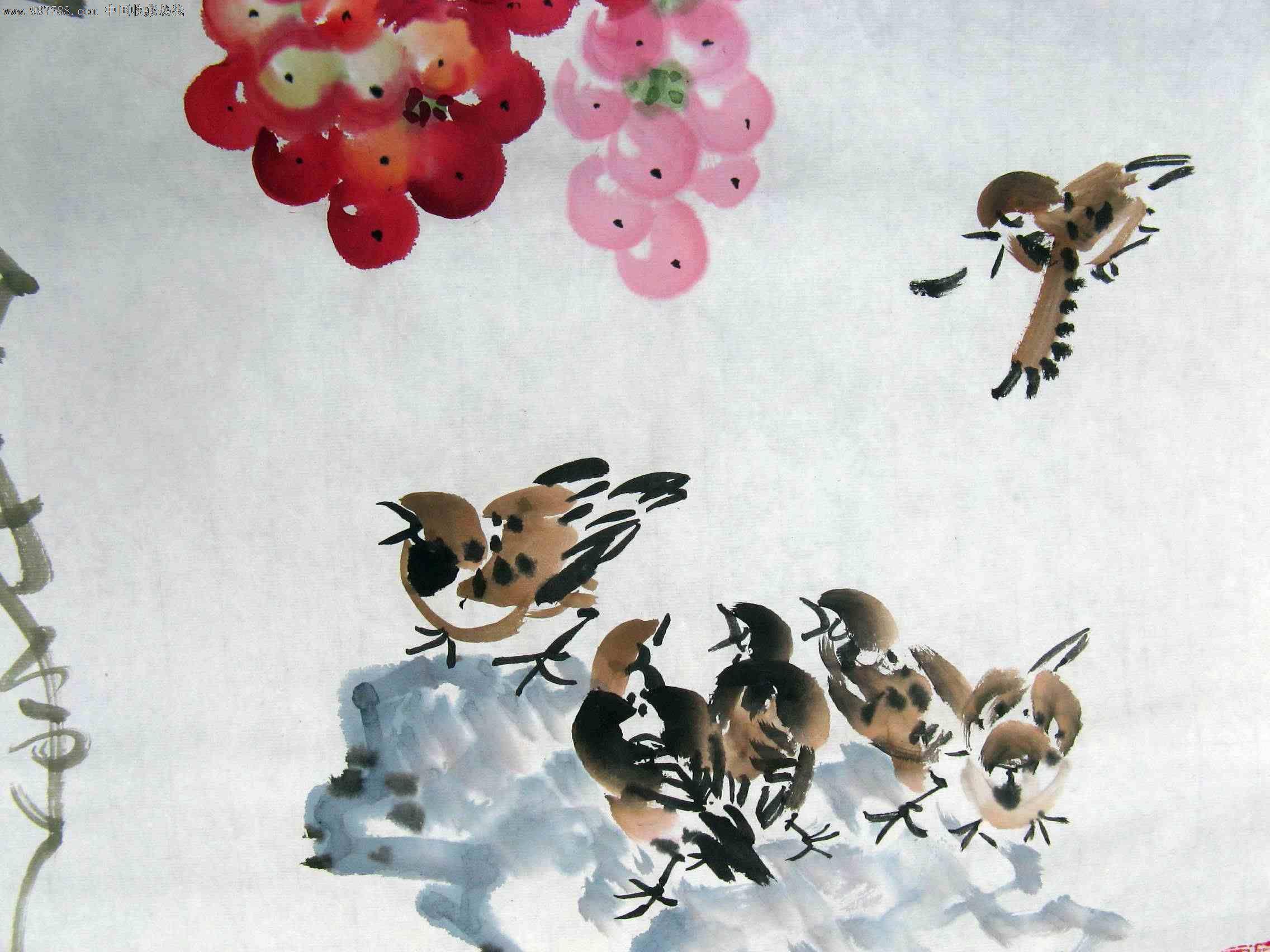 国画水墨写意葡萄; 水墨葡萄-国画-搜艺搜;