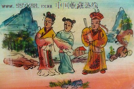 民国时期古代美女和花花公子手工上彩玻璃漆画1件