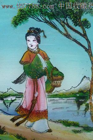 民国时期古代美女手工上彩描金玻璃漆画1件