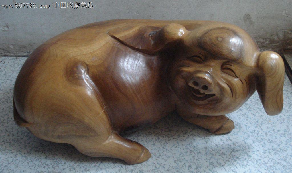 工艺品木雕摆件木雕小猪摆件可爱笑脸猪