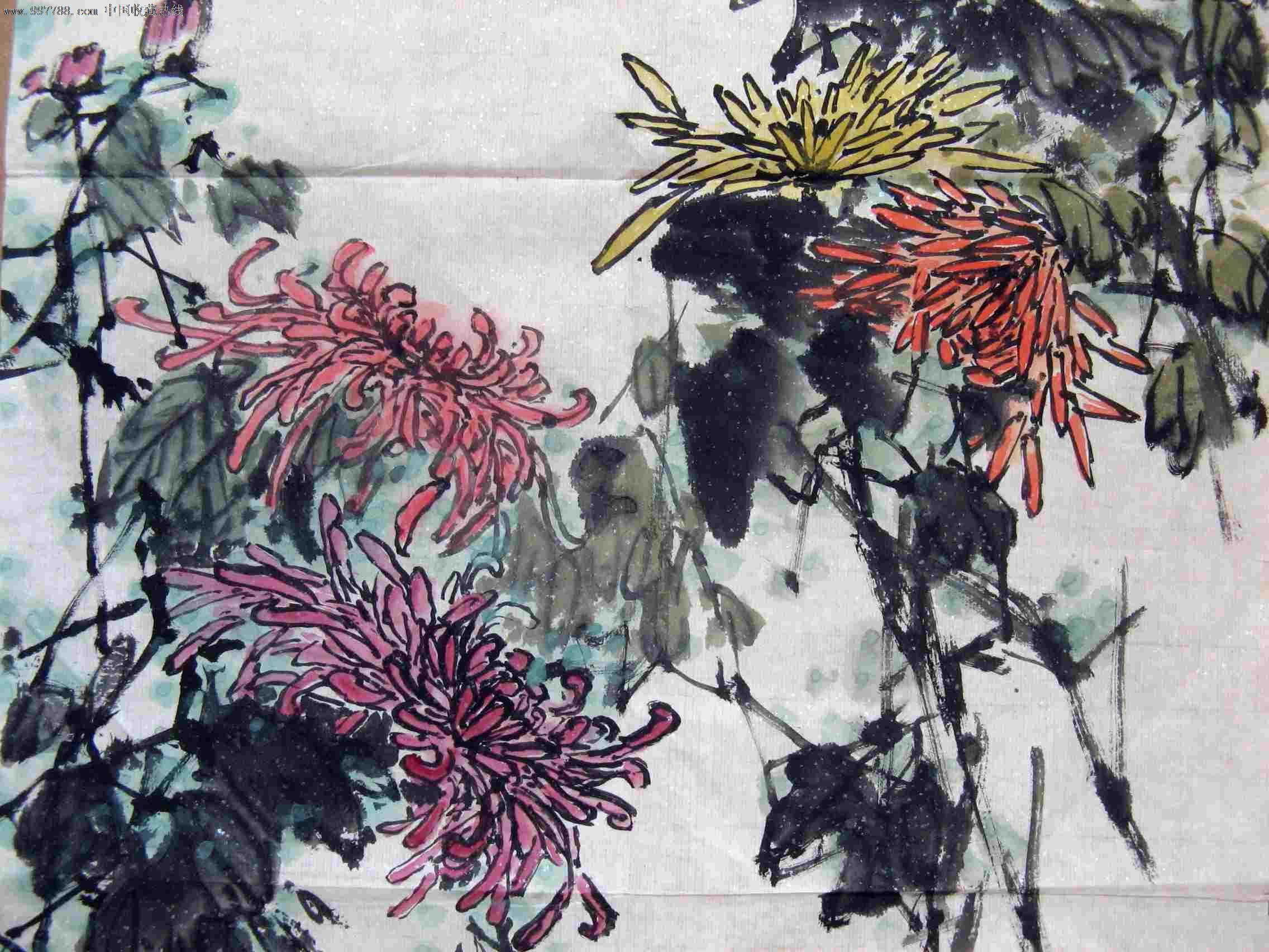 河南名画家小三尺条幅菊花画《秋韵》图片