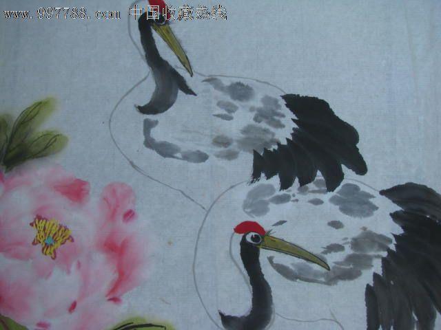 仙鹤牡丹图