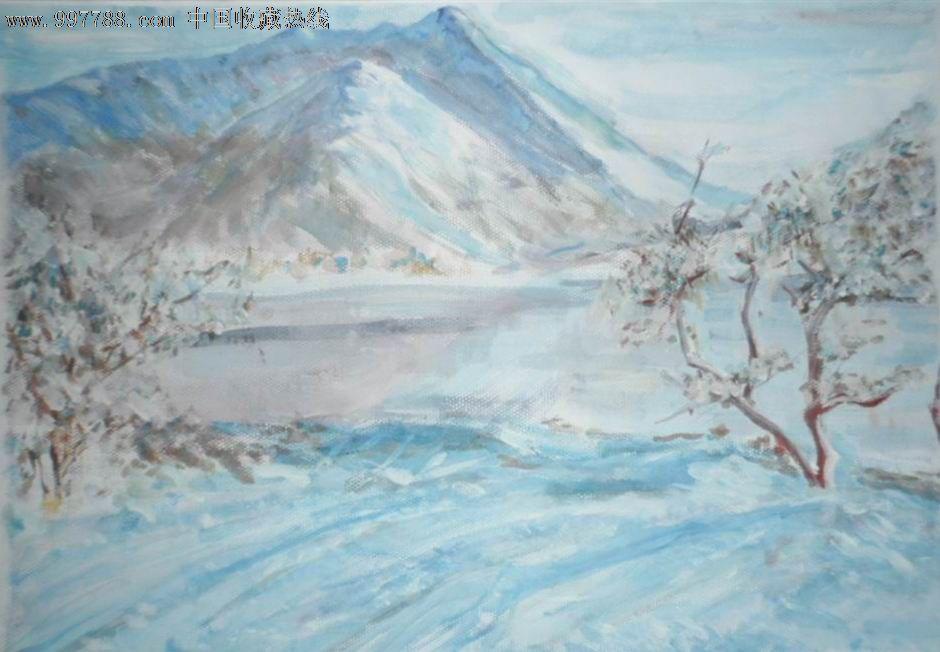 水粉画 雪景