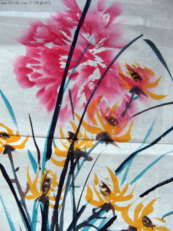 近二尺条幅无款习作兰花画