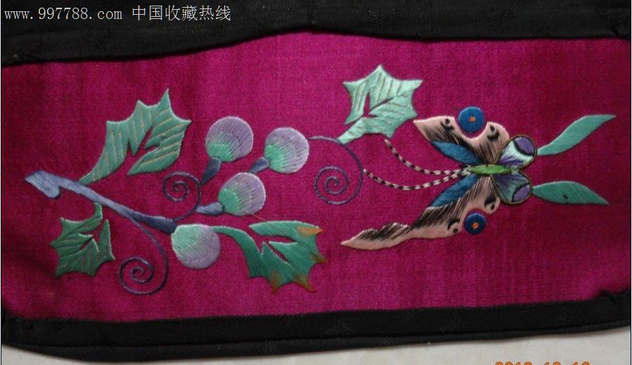 特价民国绣工精美蝴蝶兰花图枕头套一个枕顶一对刺绣文化收藏