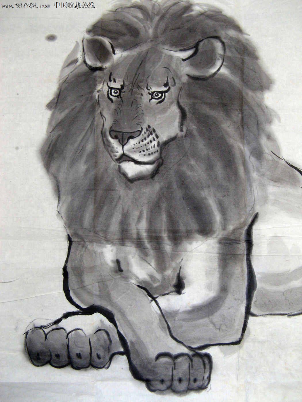 画得不错的四尺斗方无款狮子画_价格元_第2张_7788收藏__中国收藏热线图片