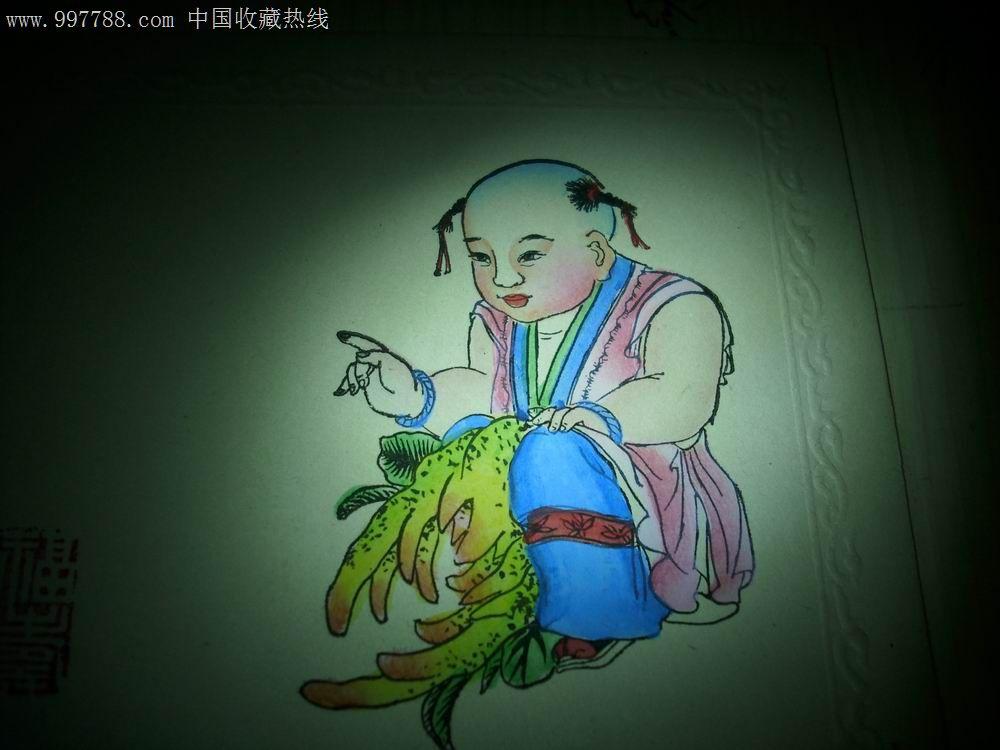 木刻加手绘[婴戏图]4张原稿.