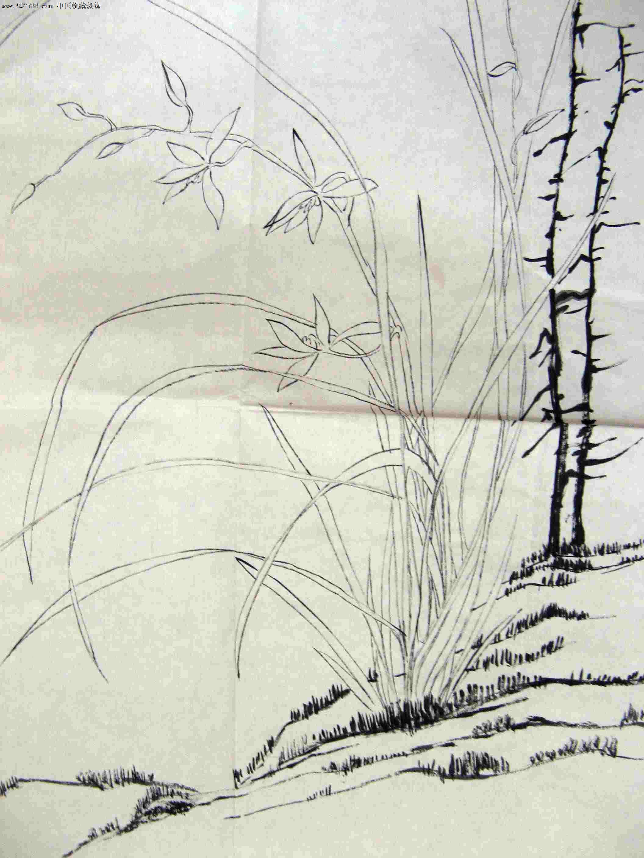 玉山道人小三尺条幅兰花画