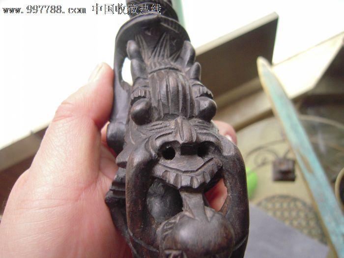 清代黄杨木雕龙形烟斗一个