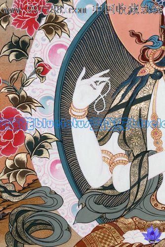 尼泊尔天然的矿物质颜料手绘唐卡四臂观音装裱