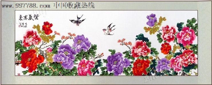 苏州刺绣牡丹紫气东来成品