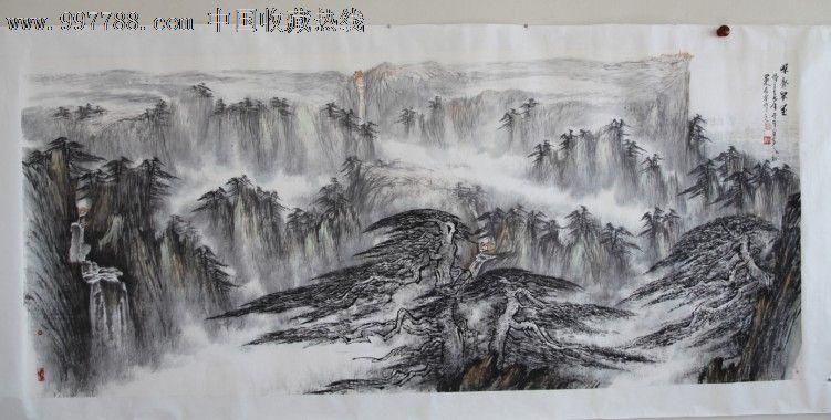 艺术家郑守宽六尺整纸山水画作品泰山松树,山水国画原
