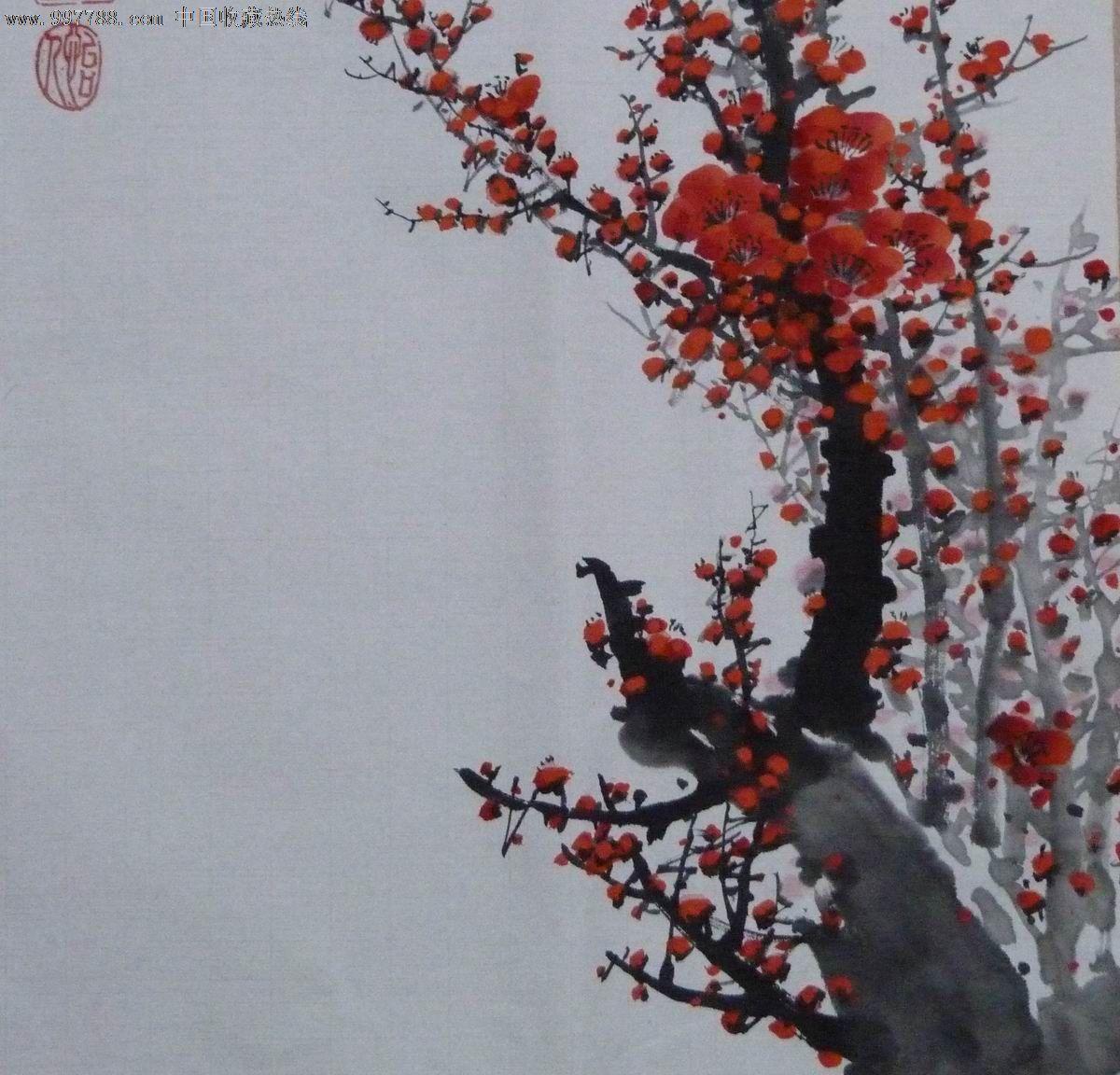 中国画写意梅花,花鸟国画原作,花卉画原画,水墨/写意画法,21世纪10