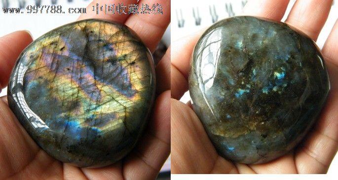 正品月光石原石把玩摆件观赏石蓝光金光36号图片
