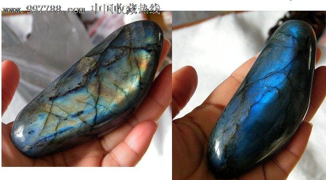 正品月光石原石把玩摆件观赏石蓝光金光392号图片