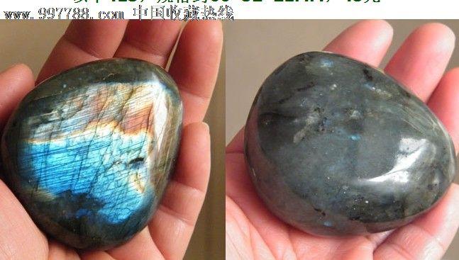 正品月光石原石把玩摆件观赏石蓝光金光413号图片