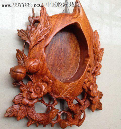 花梨木花鸟喜上眉梢烟灰缸红木木雕