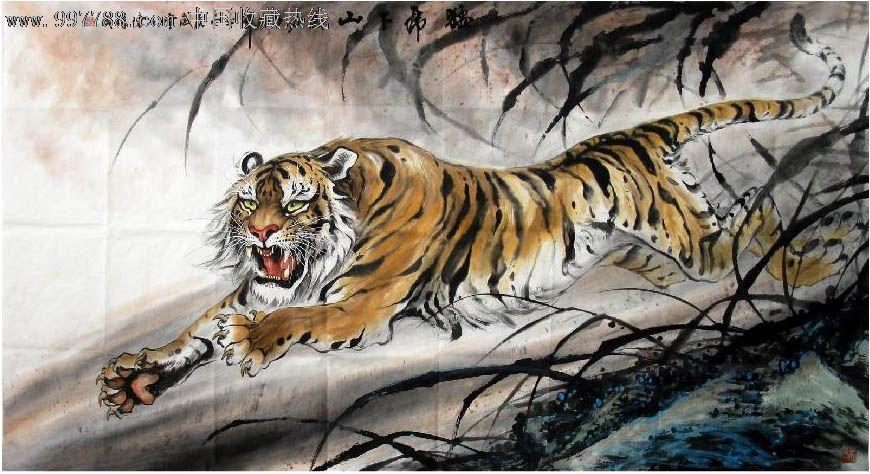 壁纸 动物 国画 虎 老虎 桌面 870_474