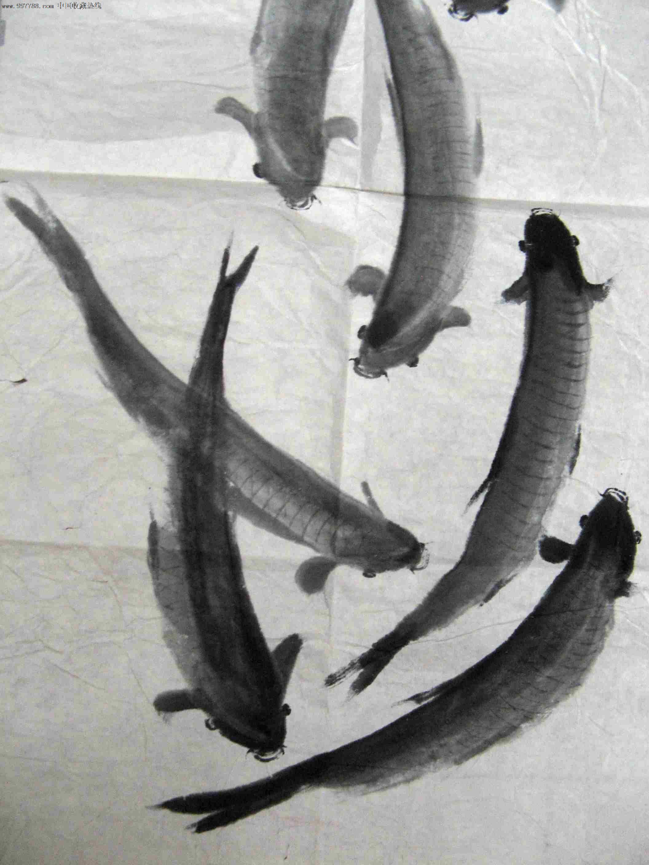 水墨画鱼-不错的三尺条幅无款群鱼戏水图